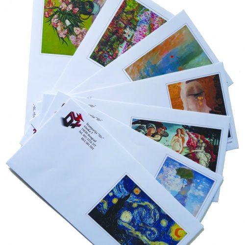 Koverte sa Vasim logom i reklamom